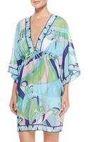 Emilio Pucci Printed Sheer Chiffon Short Cover Up - Lyst