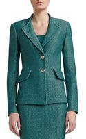 St. John Space Dyed Tack Knit Revere Collar Jacket with Pocket Flaps - Lyst