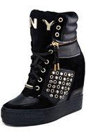 DKNY Griffin Stud Wedge Sneaker - Lyst