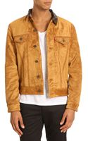 Levi's Brown Leather Collar Beige Suede Red Lined Trucker Jacket - Lyst