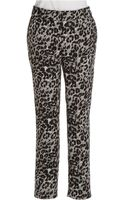 Adrianna Papell Slim Leg Jacquard Trousers - Lyst