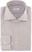 Kiton Woven Check Dress Shirt Orange - Lyst