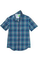 Boss Green Bastiano  Regular Fit Short Sleeved Stretch Cotton Check Print Button Down Shirt - Lyst