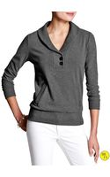Banana Republic Factory Shawl Collar Pullover Dark Charcoal - Lyst