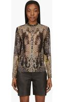 McQ by Alexander McQueen Black and Peach Chiffon Kaleidoscope Crocodile Blouse - Lyst