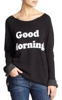 Wildfox Good Morning Printed Oversized Sweatshirt - Lyst