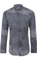 Maison Martin Margiela Navy Dot Print Cotton Shirt - Lyst