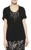Lela Rose Cocoon Blouse with Embroidered Neckline - Lyst