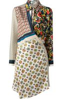 Jean Paul Gaultier Draped Mixed Print Dress - Lyst