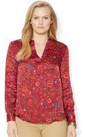 Lauren by Ralph Lauren Plus Size Floralprint Sateen Shirt - Lyst