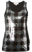 MICHAEL Michael Kors Sequin Embroidered Check Pattern Tank Top - Lyst