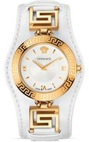 Versace Signature Rose Gold White Dial Watch 35mm - Lyst