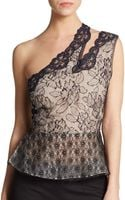 Stella McCartney One-shoulder Floral Lace Peplum Top - Lyst