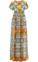 Dolce & Gabbana Embellished Printed Brocade and Silk Chiffon Gown - Lyst