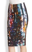 McQ by Alexander McQueen Blurry Lights Printed Stretch Cotton Pencil Skirt - Lyst