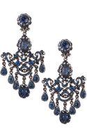 Jose & Maria Barrera Gunmetal  Blue Crystal Chandelier Clip-on Earrings - Lyst