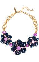 Oscar de la Renta Goldtone Multicolor Floral Frontal Necklace - Lyst