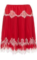 Meadham Kirchhoff Red Silk Lace Stella Skirt - Lyst