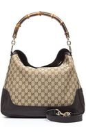 Gucci Brown Leather Beige Monogam Diana Bag - Lyst