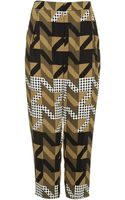 Topshop  Dogtooth Print Peg Trousers  - Lyst