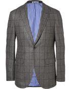 Michael Bastian Grey Slim-Fit Windowpane-Check Wool Suit Jacket - Lyst