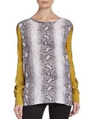 Equipment Liam Contrast Sleeve Silk Top - Lyst