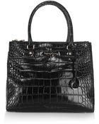 Karen Millen Multi Zip Croc Big Bag - Lyst