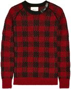 3.1 Phillip Lim Embellished Metallic Checked Wool and Cashmereblend Sweater - Lyst