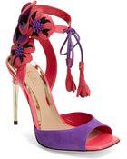 Sebastian Suede Flower Sandals - Lyst