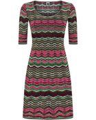 M Missoni Chevron Knit Fit And Flare Dress - Lyst