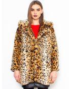 Glassworks Fuzzy Leopard Print Coat - Lyst