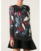 Carven Creased Floral Print Top - Lyst