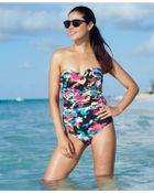 Anne Cole Floral-Print Ruched Bandeau One-Piece Swimsuit - Lyst