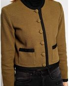Ganni Jacket with Contrast Buttons and Piping - Lyst