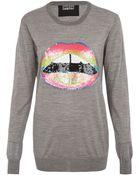 Markus Lupfer Grey Rainbow Lips Sequin Jumper - Lyst