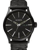 Nixon Woven Black Leather Sentry Watch - Lyst