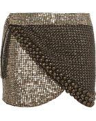 Isabel Marant Preston Metallic Embellished Silk-Chiffon Wrap Mini Skirt - Lyst