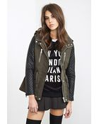 Forever 21 Quilted & Hooded Utility Jacket - Lyst