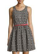 Dex Sleeveless Tribal-Print Belted Dress - Lyst