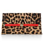 Diane von Furstenberg Leopard-Print Calf Hair Large Envelope Clutch - Lyst
