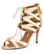 Aquazzura Beverly Hills Metallic Lace-Up Sandal - Lyst