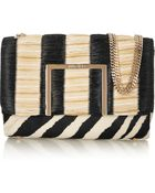 Jimmy Choo Alba Raffia And Calf Hair Shoulder Bag - Lyst