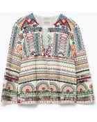 Zara Embroidered Jacket - Lyst