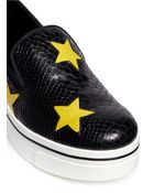 Stella McCartney Star Appliqué Snake Effect Platform Wedge Slip-Ons - Lyst