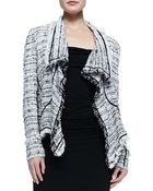 Donna Karan New York Tweed Cascade Cardigan with Fringe - Lyst
