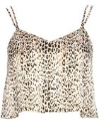 River Island Brown Animal Print Cami Crop Top - Lyst