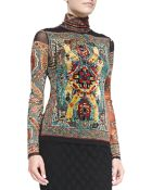 Jean Paul Gaultier Long-Sleeve Tile-Print Top With Flocking - Lyst