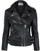 Oak Black Leather Biker Jacket - Lyst
