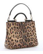Dolce & Gabbana Natural Leopard Print Coated Canvas Shoulder Bag - Lyst