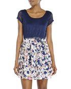 As U Wish Navy Crochet Belted Dress - Lyst